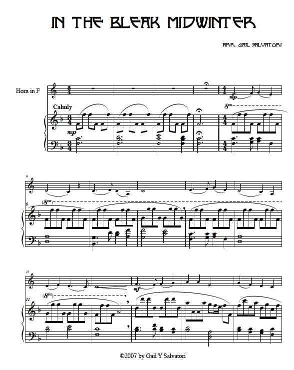 French horn Christmas sheet music: horn and harp, horn and piano